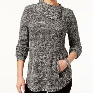 Style & Co Sweaters - Style & Co Turtleneck Sweater Black White Plus 1X